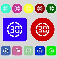 30 second stopwatch icon sign 12 colored buttons vector