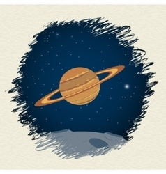 Planet in space background vector