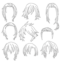 Hair styling for woman drawing set 3 vector