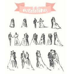 Drawn happy bride groom sketch vector image