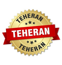 Teheran round golden badge with red ribbon vector