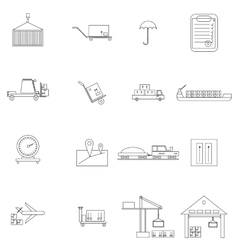 Warehouse management icons set vector