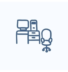 Computer set with table and chair sketch icon vector