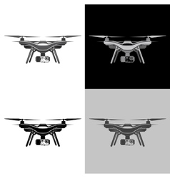 Air drone quadrocopter aerial icon set vector