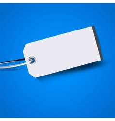 Blank price tag isolated on blue background vector