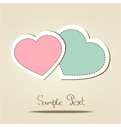 Card with two love hearts vector image vector image