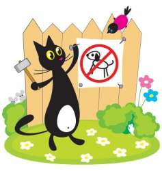 cat nailing the sign vector image vector image