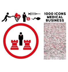 Chess strategy rounded icon with medical bonus vector