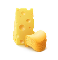 Chips stack with cheese on white background vector