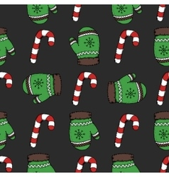 Christmas candy pattern vector image