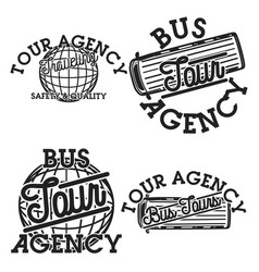 Color vintage tour agency emblems vector