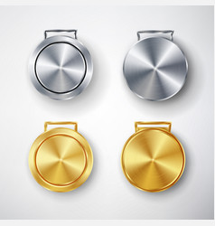 competition games golden and silver medal set vector image vector image