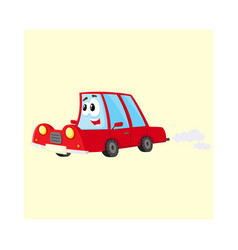 cute and funny red car auto character hurrying vector image vector image