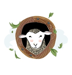 Cute sheep portrait with wood wreath vector image