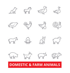 Domestic farm animals line icons cow dog cat vector
