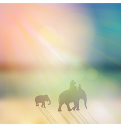 Elephant with mahout and small elephant silhouette vector image vector image