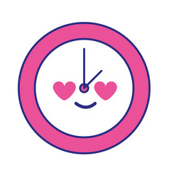 Full color circle clock in love kawaii cartoon vector
