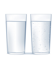Glass of water and sparkling water vector