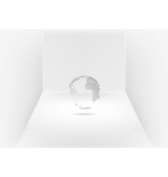 Grey globe in room vector image vector image