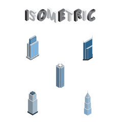 Isometric building set of exterior skyscraper vector
