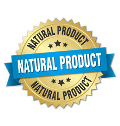 Natural product 3d gold badge with blue ribbon vector