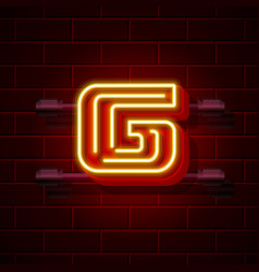 Neon city font letter g signboard vector