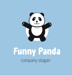 panda bear logo or badge template flat design vector image