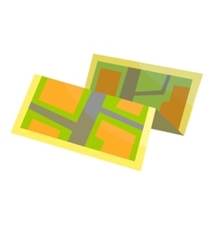 Paper map icon cartoon style vector
