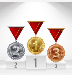 pedestal with gold silver bronze medals vector image vector image