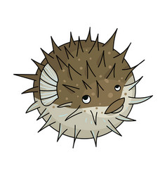 porcupine fish icon in cartoon style isolated on vector image