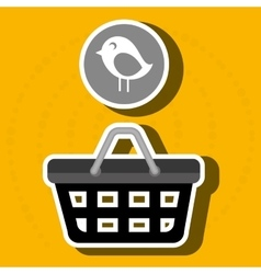 Red basket and bird isolated icon design vector