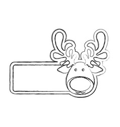 silhouette blurred banner with face reindeer vector image