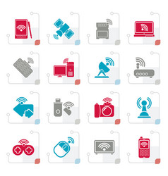 stylized wireless and communications icons vector image vector image