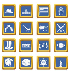 Usa icons set blue vector