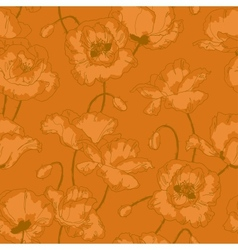 Vintage seamless pattern with poppy flowers vector image vector image