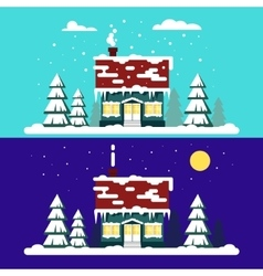 Winter cozy house with fits on blue background vector