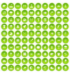 100 nature icons set green circle vector