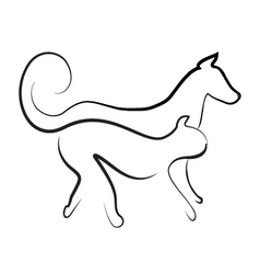 Cat and dog walking together logo vector image