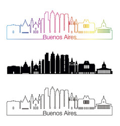 buenos aires v2 skyline linear style with rainbow vector image