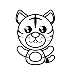 Tiger animal toy outline vector