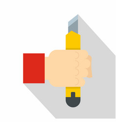 hand hoding yellow construction utility knife icon vector image