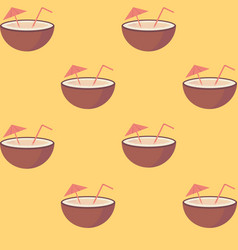 Coconut fruit with straw and umbrella seamless vector