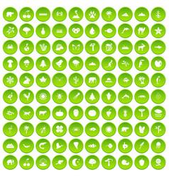 100 nature icons set green circle vector