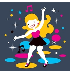 Disco dance girl vector