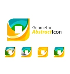 Set of abstract geometric company logo square vector