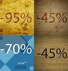 45 70 icon set of percent discount on abstract vector