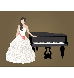 bride and piano vector image