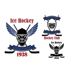 Ice hockey club icons with sport items vector