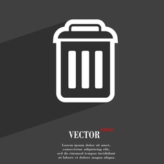 Trash icon symbol flat modern web design with long vector