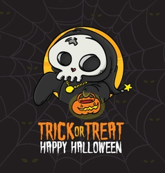 Halloween trick or treat death costume vector